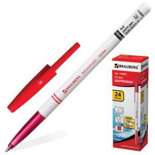 Ручка шариковая BRAUBERG (БРАУБЕРГ), офисная, толщина письма 1 мм, красная, 140892