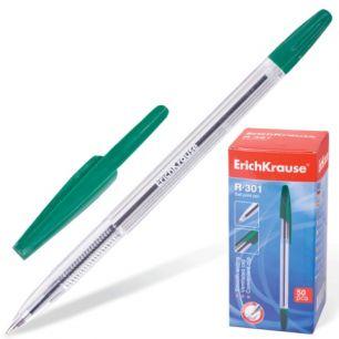 """Ручка шариковая ERICH KRAUSE """"R-301"""", корпус прозрачный, толщина письма 1 мм, зеленая, 28174"""