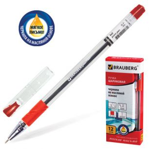 "Ручка шариковая масляная BRAUBERG ""Max-oil"" (БРАУБЕРГ ""Макс ойл""), c грипом, корпус прозрачный, 0,7 мм, красная, 142143"