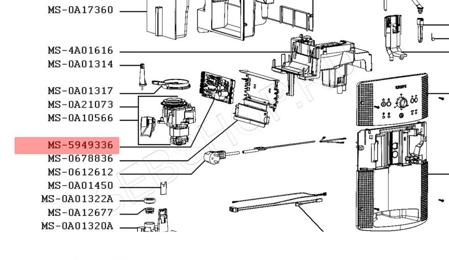Плата управления, силовая плата кофемашины KRUPS (Крупс) моделей EA80..., EA81... Артикул MS-5949336 (MS-5949330)
