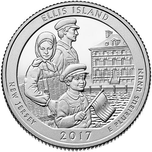 25 центов США 2017, 39-й Национальный монумент острова Эллис ,  ELLIS ISLAND