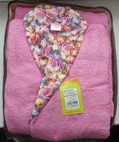 Женский халат махровый шаль узор розовый с цветочным принтом 46 размер