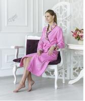 Женский халат махровый шаль узор розовый с цветочной вышивкой