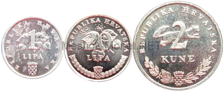 Набор монет Хорватии (3 монеты) ФАО