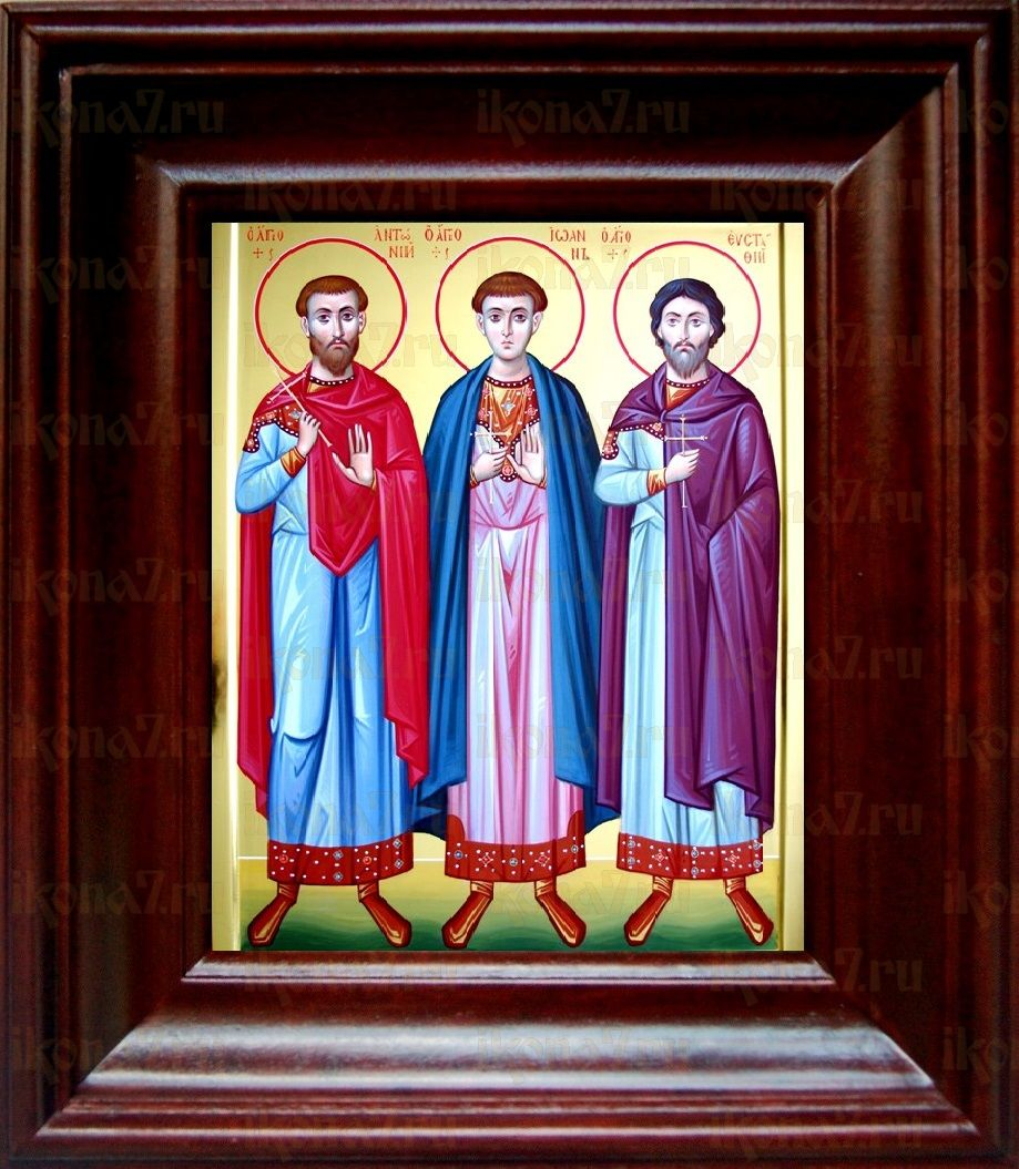 Антоний, Иоанн и Евстафий Виленские (21х24), простой киот