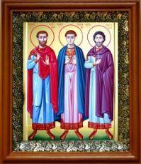 Антоний, Иоанн и Евстафий Виленские (19х22), светлый киот
