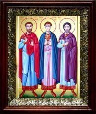 Антоний, Иоанн и Евстафий Виленские (19х22), темный киот
