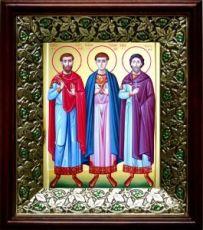 Антоний, Иоанн и Евстафий Виленские (21х24), киот со стразами