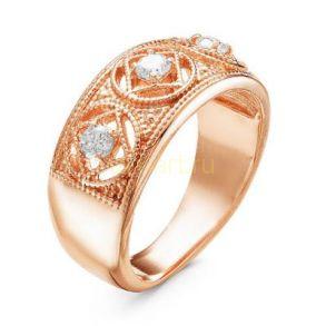 Позолоченное кольцо с фианитами (арт. 788040)