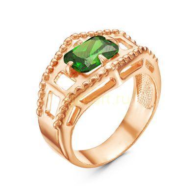 Позолоченное кольцо с искусственными изумрудом (арт. 788041)