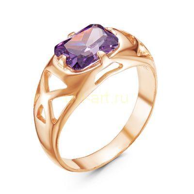 Позолоченное кольцо с искусственным аметистом (арт. 788042)