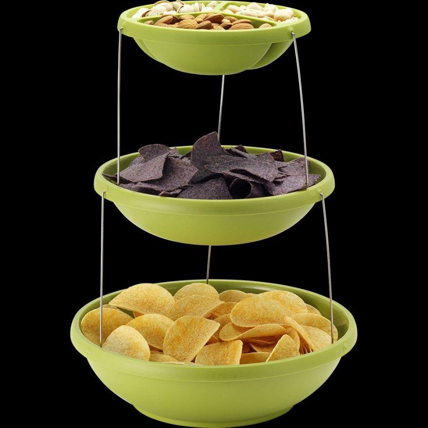 Складная пластиковая ваза для фруктов и снеков Twistfold Party Bowls (3 яруса)