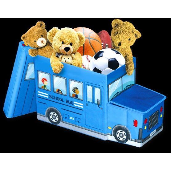 Короб для хранения игрушек Автобус, 2 отделения 39*25*31 см (Цвет: Синий)