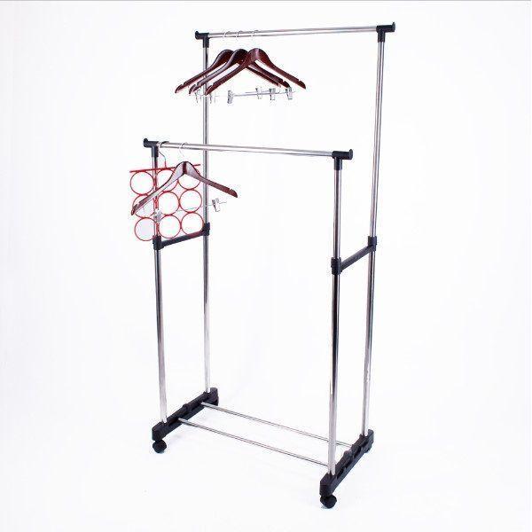 Двойная напольная передвижная стойка для одежды Double-Pole Telescopic Clothes Rack