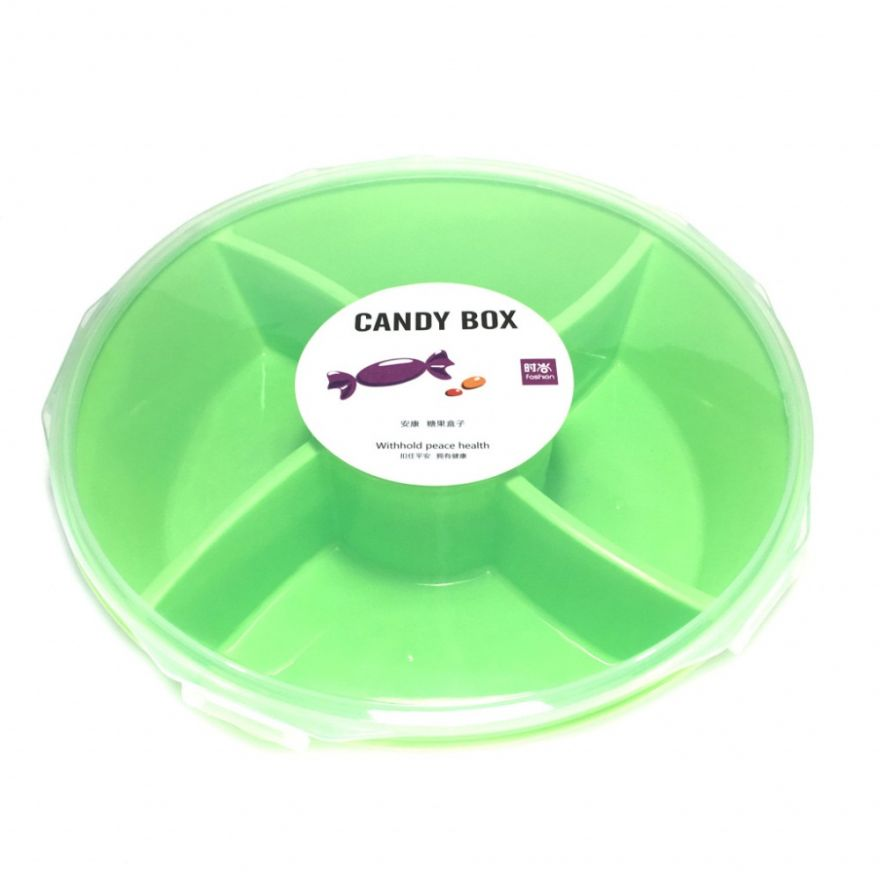Круглая пластиковая менажница на пять отделений Candy Box