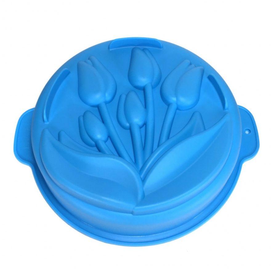 Силиконовая форма для выпечки с ручками Тюльпаны