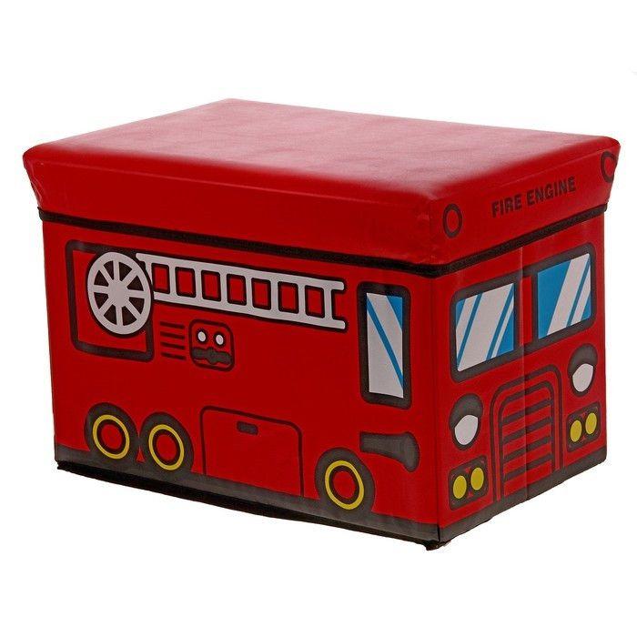Короб-пуф для хранения игрушек 48х28х30 см (Пожарная машина)