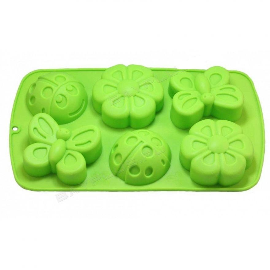 Силиконовые формы для кексов (бабочка, божья коровка, цветок), 6 шт