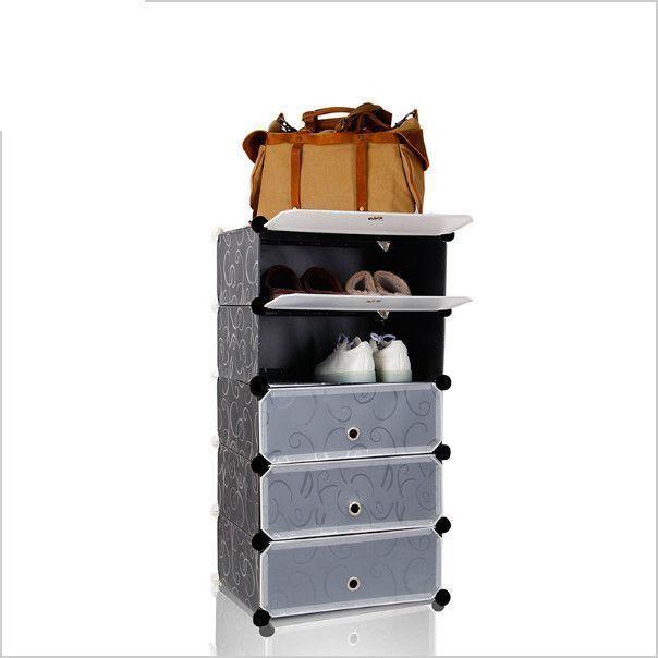 Складной шкаф для обуви в прихожую на 5 полок (Цвет: Черный)