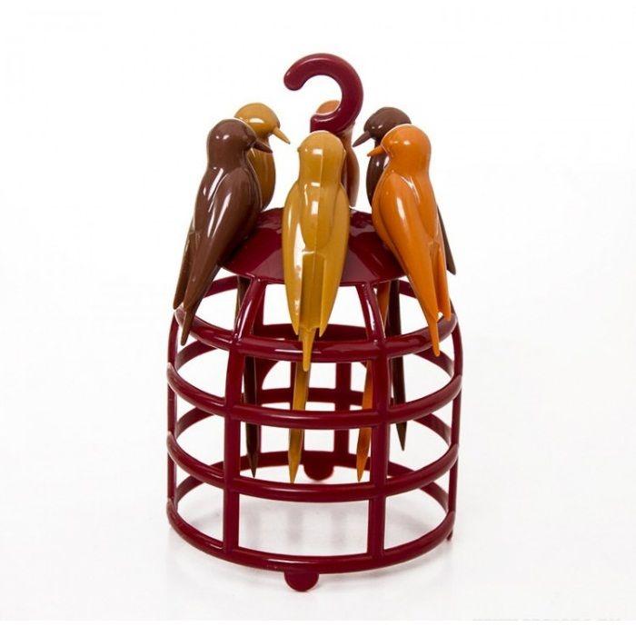 Шпажки для канапе на подставке-клетке Птички Birdcage, 6 шт