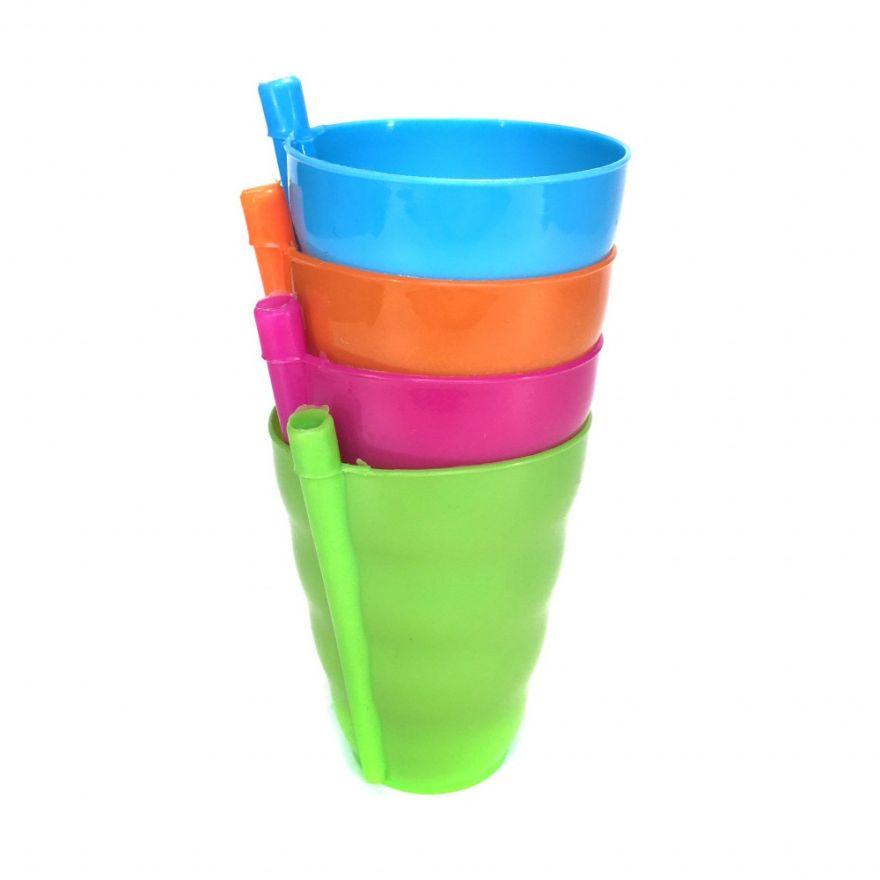 Набор пластиковых стаканчиков со встроенными трубочками, 4 шт