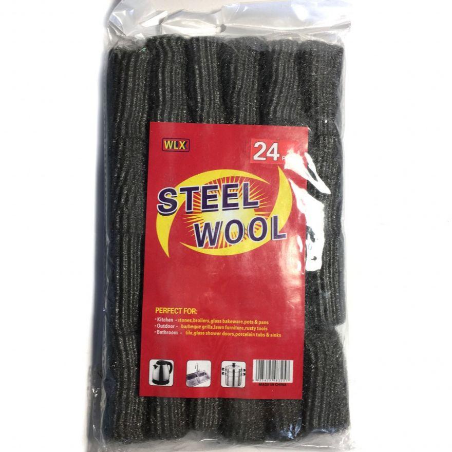 Набор губок из металлической шерсти Steel Wool, 24 шт