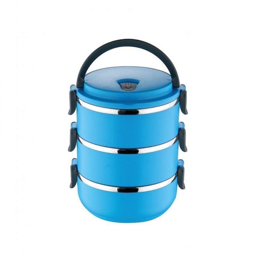 Термо ланч-бокс из нержавеющей стали, 2,1 л (Цвет: Голубой)