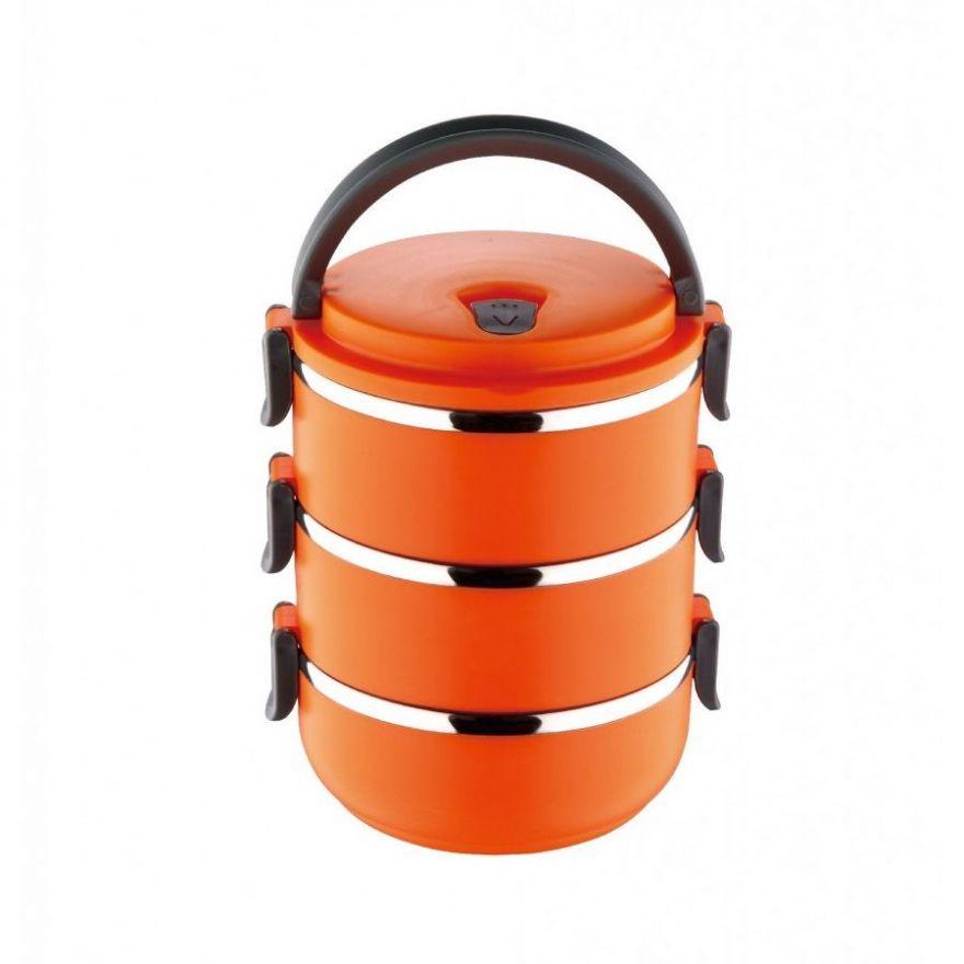 Термо ланч-бокс из нержавеющей стали, 2,1 л (Цвет: Оранжевый)