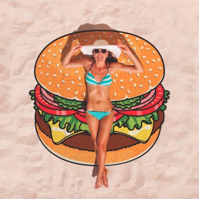 "Круглое пляжное полотенце ""Гамбургер"" (Размер: 150х150 см)"