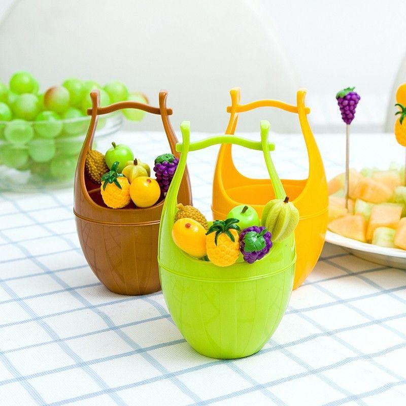 Набор шпажек для канапе в виде фруктов на подставке Wooden Casks Fruits Fork (Цвет: Зеленый)