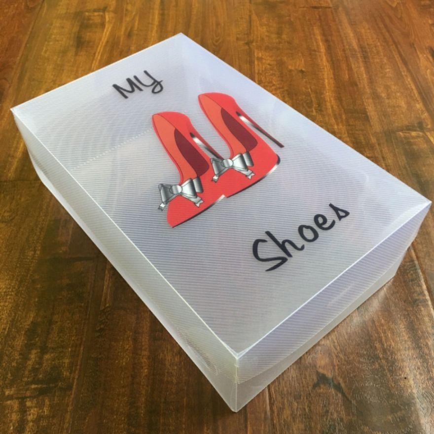 Сборный прозрачный бокс с крышкой для обуви 18,5*10*30 см