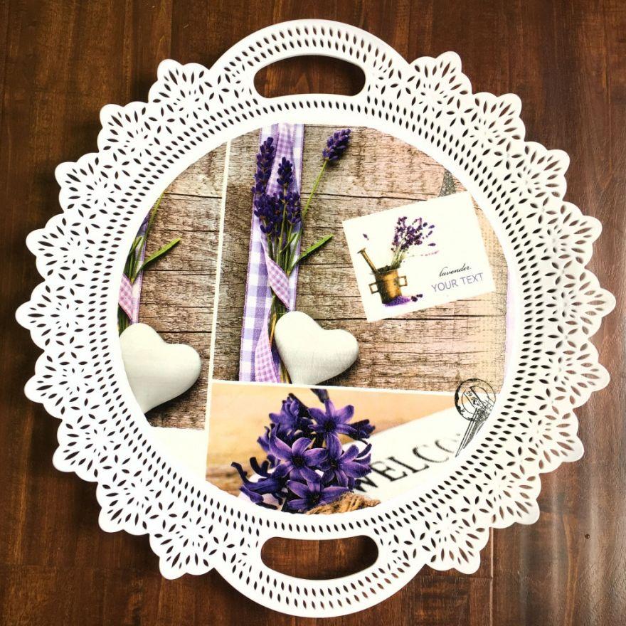 Пластиковый декоративный поднос с ручками Lavender