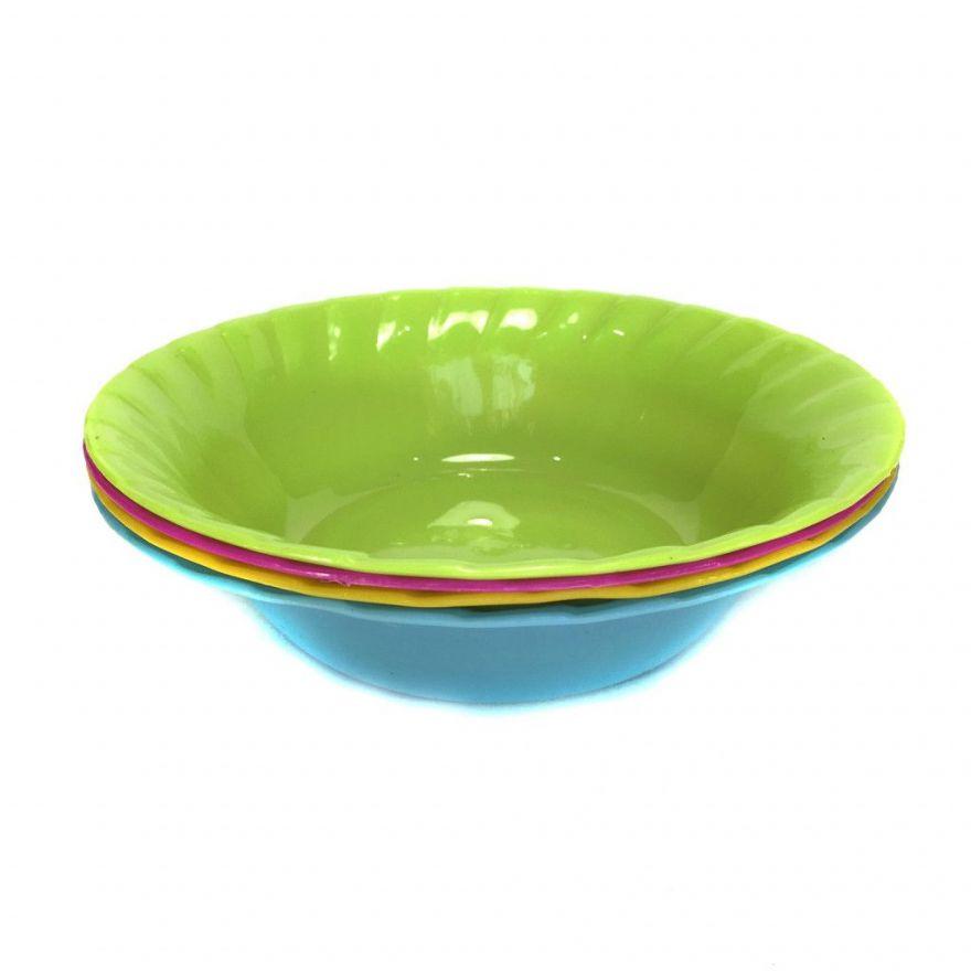 Набор глубоких тарелок из цветного пищевого пластика