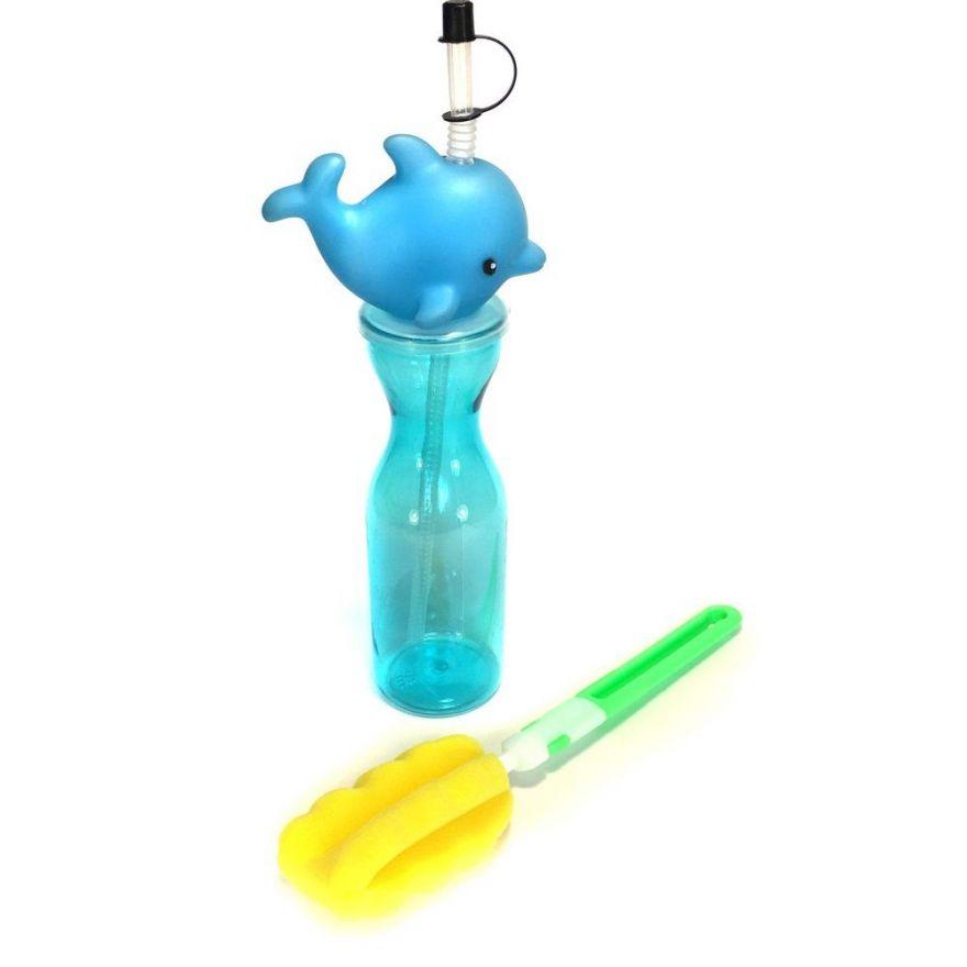 Набор из детской бутылочки для воды с горлышком в виде дельфина и ёршика для её чистки Fashion Plastic Family