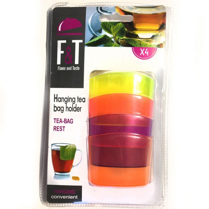 Набор разноцветных держателей для чайных пакетиков Tea-Bag Rest , 4 шт.