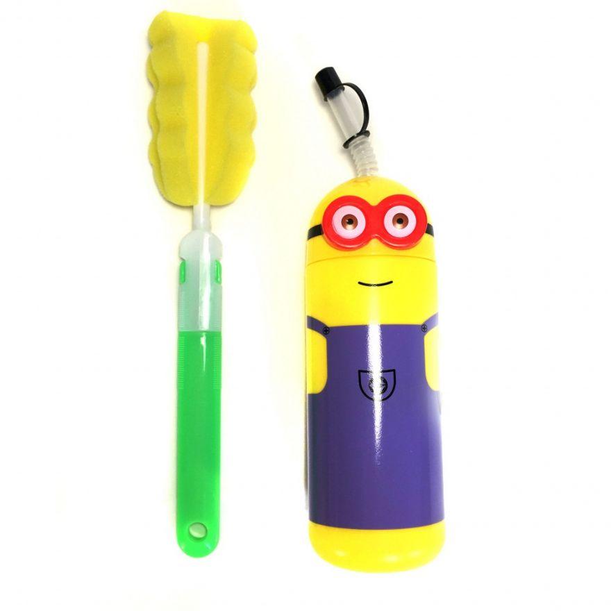 Детская бутылочка для воды Миньон и специальный ёршик Fashion Plastic Family