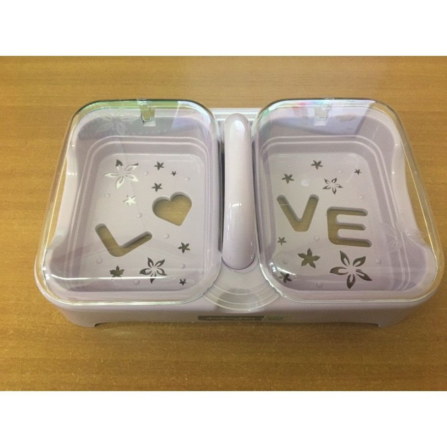 Мыльница двойная с прозрачной крышкой и надписью Love (Цвет: Серый)