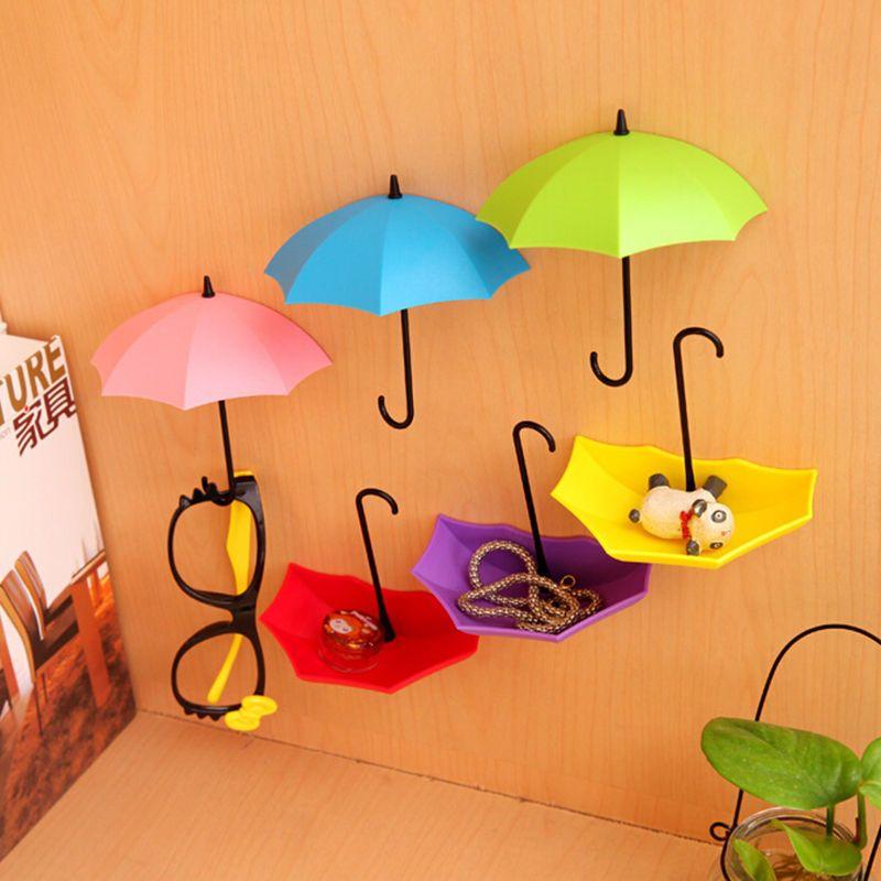 Крючки-держатели в виде зонтиков Umbrella Drop, 3 шт.