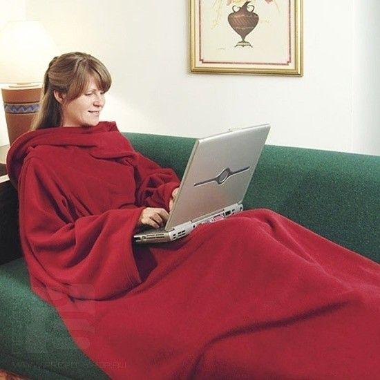 Одеяло-плед с рукавами Snuggle (Цвет: Бордовый)
