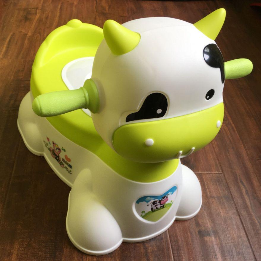 Музыкальный детский горшок-игрушка в виде коровы (Цвет: Зеленый)