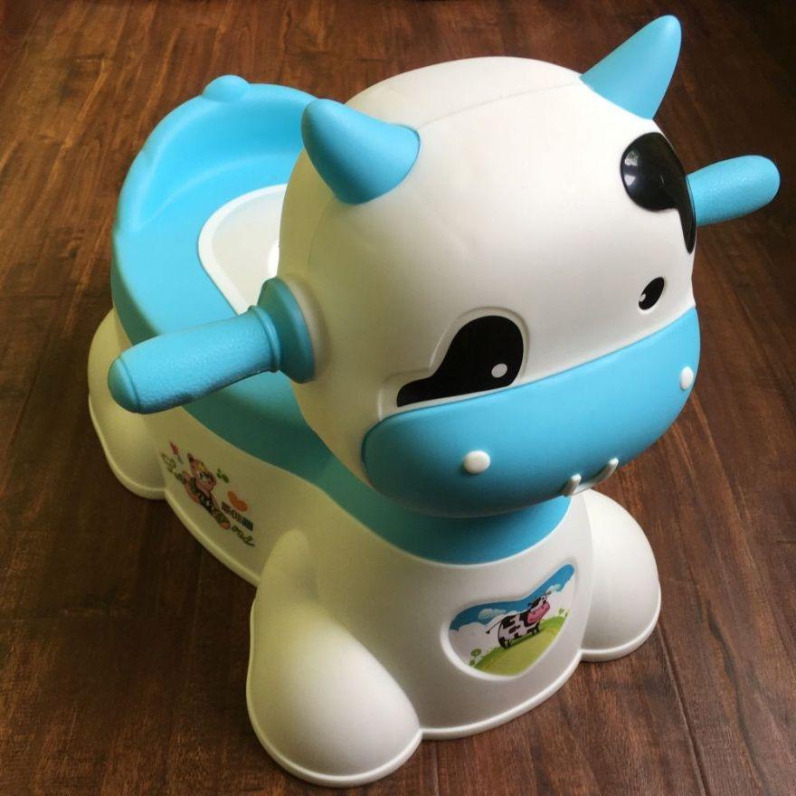 Музыкальный детский горшок-игрушка в виде коровы (Цвет: Голубой)