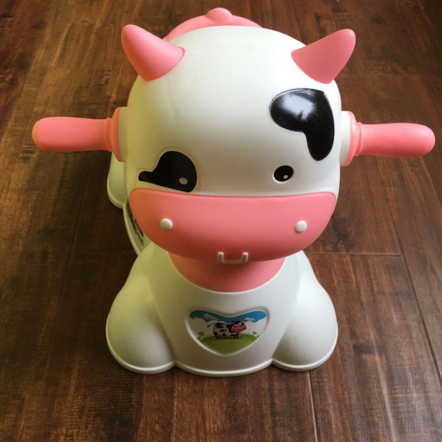 Музыкальный детский горшок-игрушка в виде коровы (Цвет: Розовый)