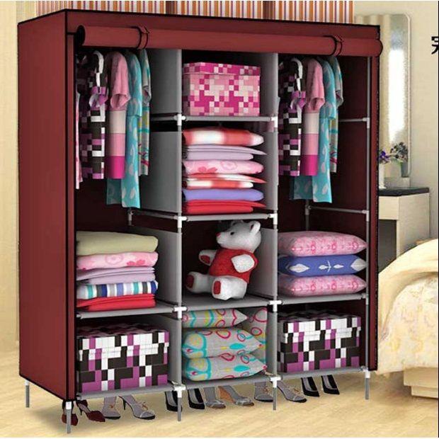 Складной каркасный тканевый шкаф Storage Wardrobe коричневый ( 130*170*45 см)