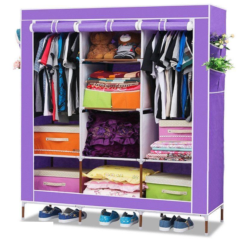 Складной каркасный тканевый шкаф Storage Wardrobe сиреневый ( 130*170*45 см)