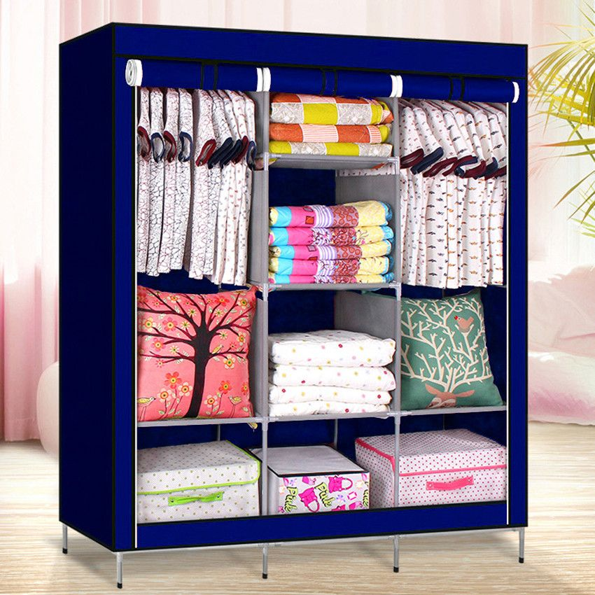 Складной каркасный тканевый шкаф Storage Wardrobe синий ( 130*170*45 см)