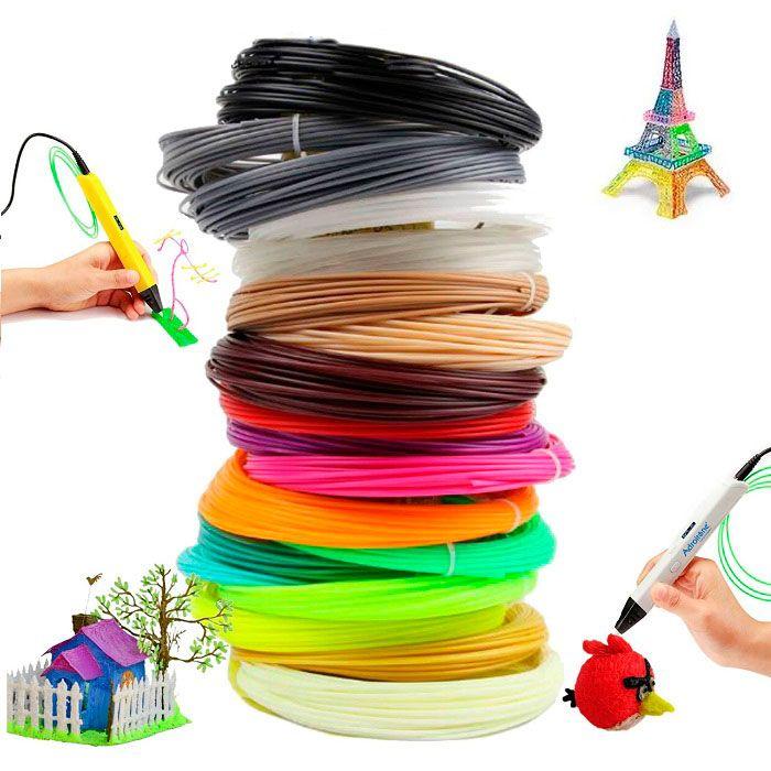 Набор PLA-пластика для 3D ручки (18 цветов + 2 светящихся, по 10 м)