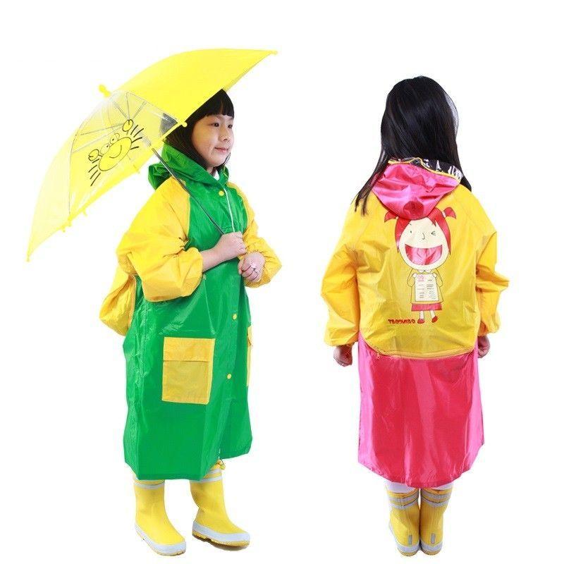 Плащ-дождевик виниловый для детей (Цвет: Желто-Фиолетовый)