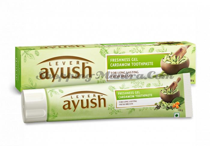 Зубная гель паста с кардамоном Левер Аюш   Lever Ayush Freshness Gel Cardamom Toothpaste