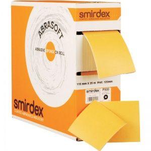 Smirdex P400 Абразивная бумага на поролоновой основе в рулоне с перф. SMIRDEX 135 Abrasoft, 115 мм x 125мм x 25 м