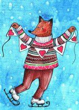 Почтовая открытка Лис на коньках